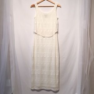 Signature Robbie Bee White Sleeveless Lace Dress